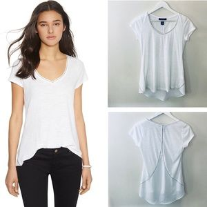 WHBM White Split Back Relaxed Tee